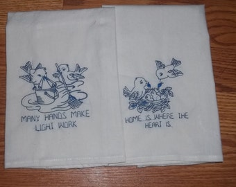 Vintage Bluebirds Dow Embroidered  Kitchen Towels now also in blue