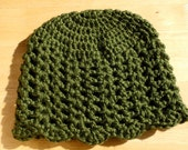 Crochet Child's Flapper-style Hat in Olive Green - Size M