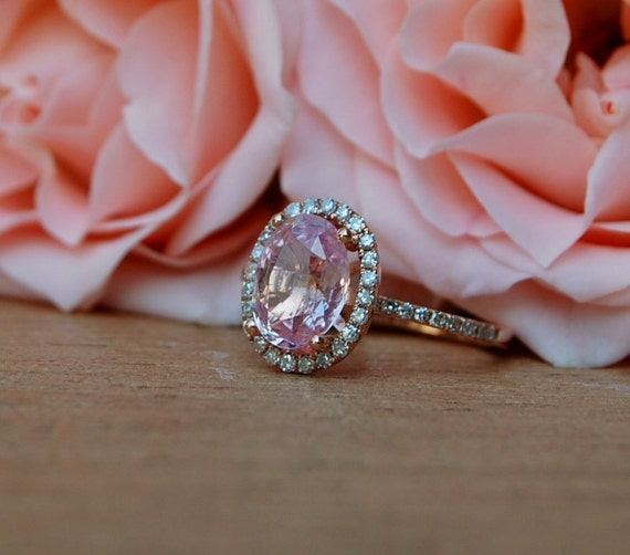 2.2ct Oval champagne peach sapphire diamond ring 14k rose gold