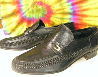 11.5 W mens vintage 70's FLORSHEIM black woven leather loafers shoes NOS