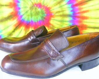 12 C mens vintage leather FLORSHEIM loafers shoes NOS dark brown