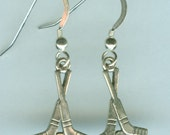 Sterling Silver  HOCKEY STICK  Earrings -  Sports, Skating