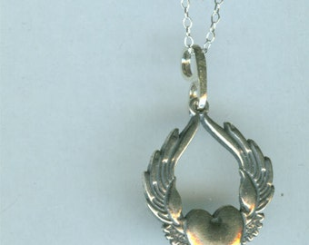 SUFI HEART Pendant  - Sterling Silver - Winged Heart, Flying Heart