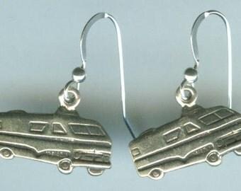 Sterling Silver RV, Motor Home, Travel Trailer Earrings
