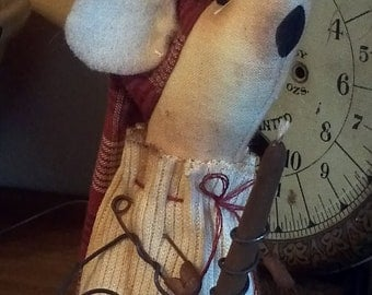 Mouse Night Time Mouse primitive rustic mouse with Red Homespun Cap; cabin decor; Team HAHA, Hafair, ofg, mha, ado, nooga, ellijay