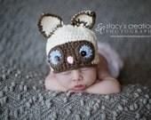 Crochet Baby Hat, Crochet Baby Cat Hat, Baby Animal Hat, Siamese Cat Hat, Newborn Animal Hat, Infant Cat Hat, Crochet Baby Beanie, Ecru