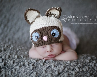 Crochet Baby Hat, Crochet Baby Cat Hat, Baby Animal Hat, Siamese Cat Hat, Newborn Animal Hat, Infant Cat Hat, Crochet Baby Beanie, Ecru