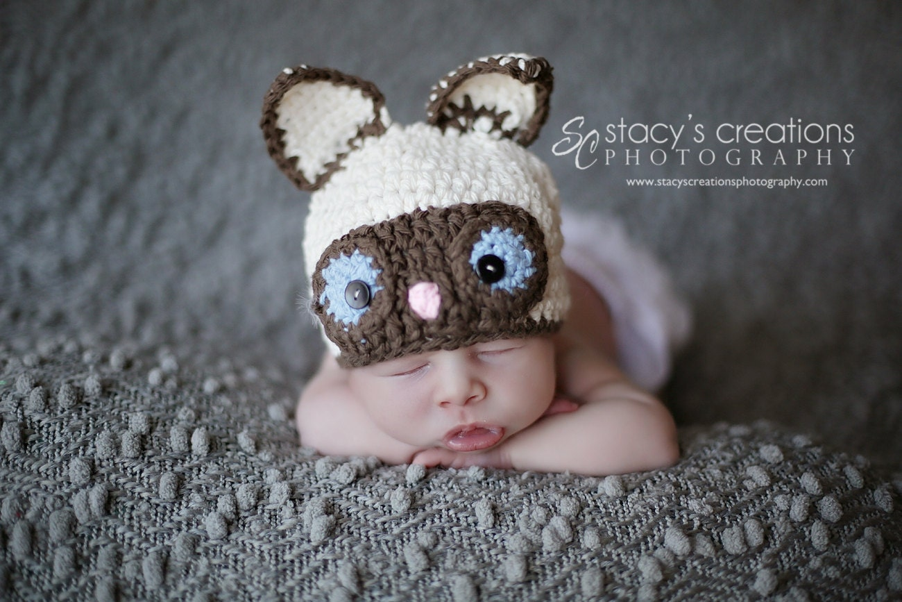 Crochet Baby Hat Crochet Baby Cat Hat Baby Animal by Monarchdancer