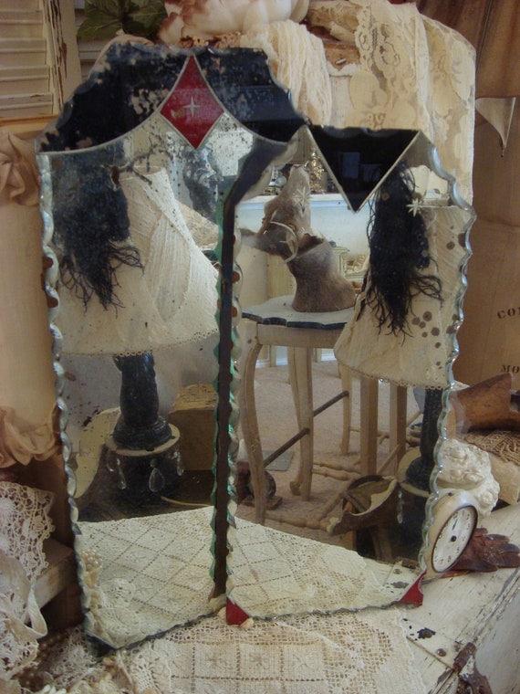 Vintage Shabby Cottage Religious Pie Crust Edge Mirrors