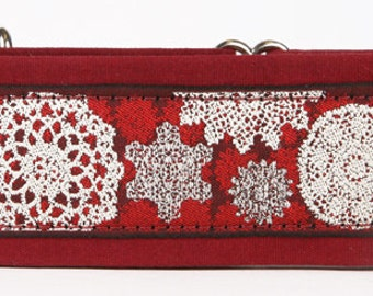 """Snowflakes on Red 2"""" Martingale Collar-"""