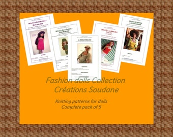 Complete Collection pack of 5 PDF Knitting Patterns Fashion dolls Tonner Ellowyne 16 inches