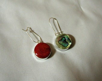 Interchangeable 2 in 1 - Coral and Abalone Shell Sterling Silver Earrings.