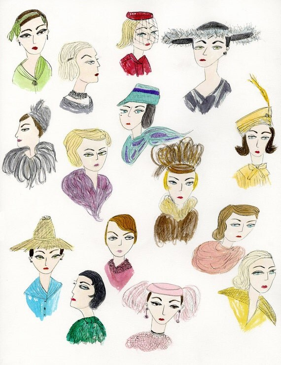 French ladies of fashion 1955.  Original watercolor painting by Vivienne Strauss.
