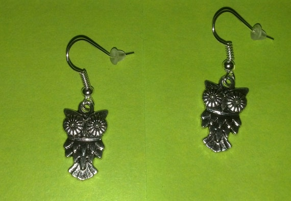 Owl Earrings, choice of antique bronze OR silver color