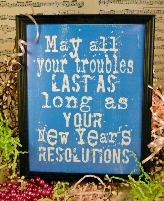 fun New Years eve Resolutions sign digital PDF - uprint vintage art words primitive paper old 8 x 10 frame saying