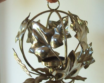 Vintage Silver Tone Metal Ivy Leaf Candleholder
