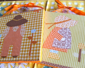 The Harvest People ~~~ Fabric Farmer Boy and Bonnet Girl Wall Hangings