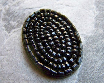 Vintage Jet Glass Highly Textured Oval Cabochon-1