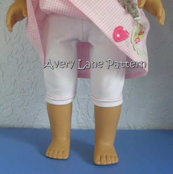 Doll Leggings pattern 3 lengths ankle length,  shorts, and capris  doll Sewing Pattern  Avery Lane 18 inch doll PDF instant download