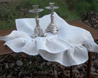 White Burlap Table Runner Ruffled Runner Custom Sizes French Country Farmhouse Wedding Decor Table Settings Prairie Ruffled Burlap Runner