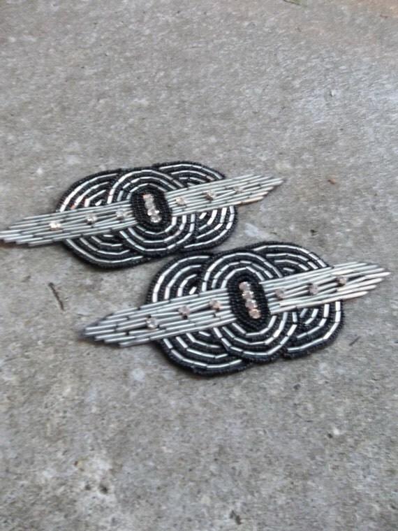 Vintage Beaded Medallion Art Deco Applique Rhinestones Beads Black Silver Sewing Supplies