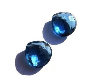 Matched Pair - AAA London Blue Quartz Front Drilled Faceted Heart Shaped Briolettes Size 15x15mm approx