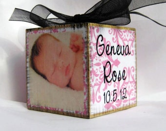 Baby's First Christmas Ornament Personalized Photo Block in Pink Damask..