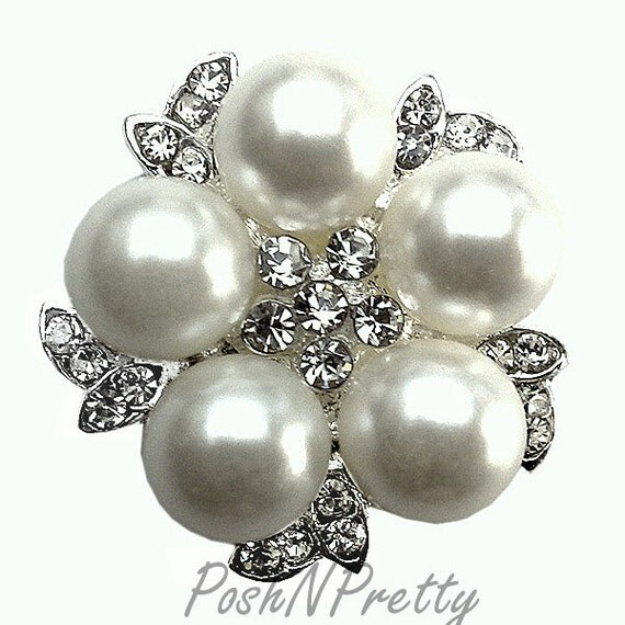 5 PCS Pearl Cluster Rhinestone No Shank button 20mm S5