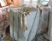 50% OFF - Treasury Item - Flea Market Cart Custom Liner - Shabby French Prairie Cottage - Sage Neutrals Roses