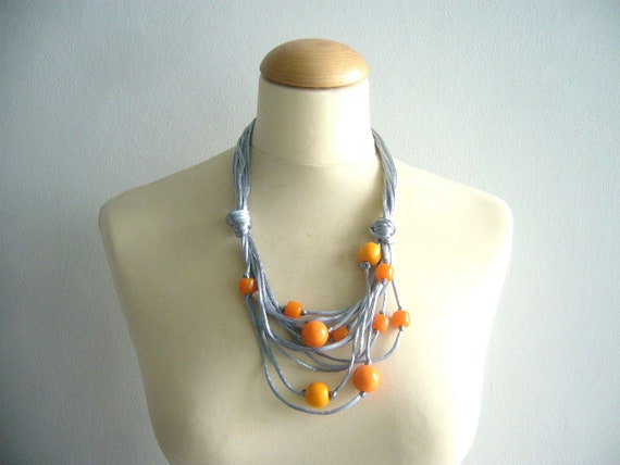 Grey orange necklace