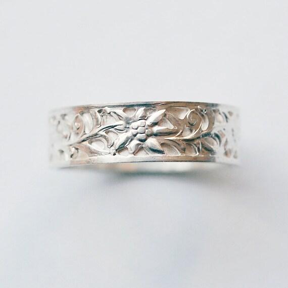 Silver Wedding Band Sterling Woodland Floral Vine Bridal Engagement Ring