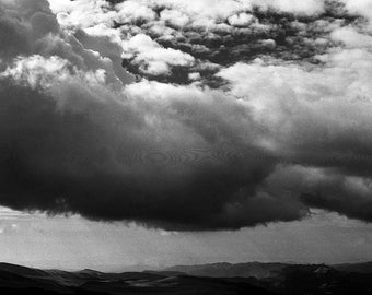 Transylvanian Alps III - 8x10 paper, traditional black and white photograph, mountain photography, Transylvania photography, clouds