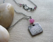Pink Sapphire Necklace Floral Recycled Silver PMC Sterling Silver September Birthstone - Lazy Daisy