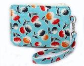 Zipper Wallet in Blue Cherry with Wristlet Strap