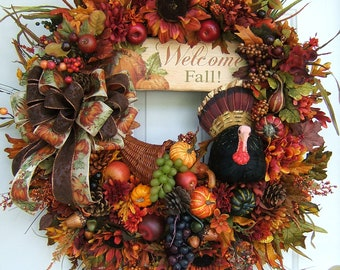 XL custom order, Thanksgiving wreath, special order,  I will create a special design for you. Fall wreath, thanksgiving greetings, turkey