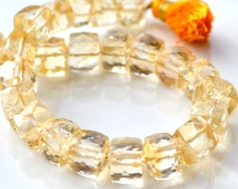 AAA Citrine Faceted 9mm Cube Beads  2