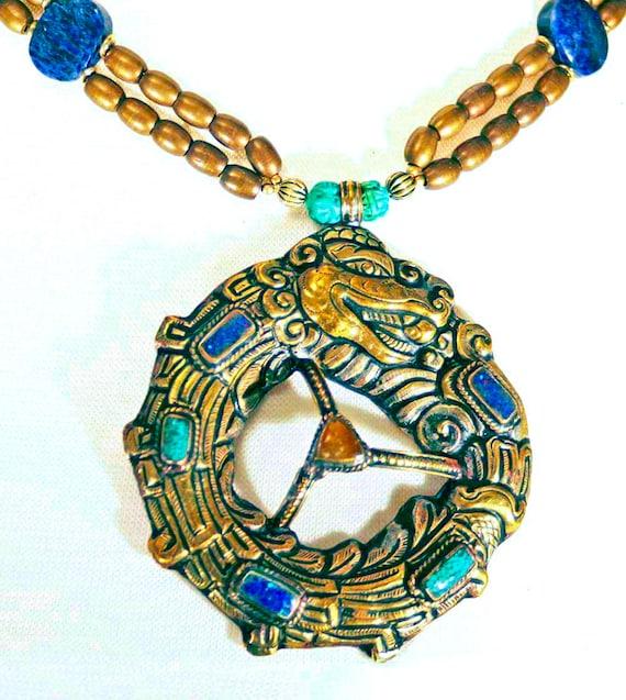 Nepalese Dragon Circle - Blue & Green