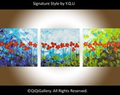 """36"""" Original Modern Abstract Heavy Texture Impasto Palette Knife Painting Landscape Flower Wall Decor """"Red Delight"""" by QIQIGALLERY"""