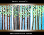 """Art Abstract Original Painting  Modern Heavy Texture Impasto Canvas Landscape Tree Branches Wall Decor """"Forest Green"""" by QIQIGALLERY"""