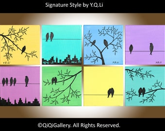 "Eight Squares birds Art wall decor wall hangings wall art tree birds cituscape decorative art ""Suburban Birds"" by qiqigallery"
