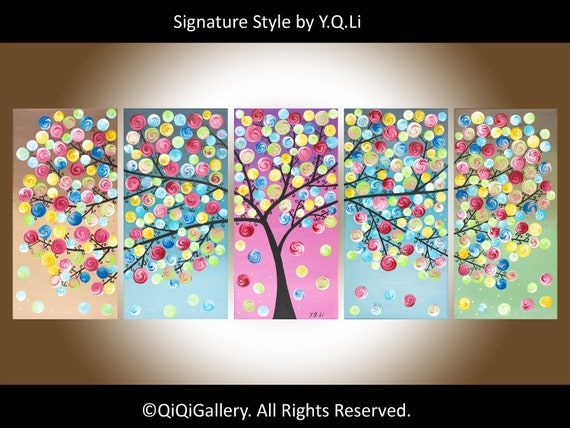 """60"""" Original Modern Abstract Heavy Texture Impasto Metallic Acrylic Painting Landscape Tree Branches Wall Décor """"Stand Out from the Crowd"""""""