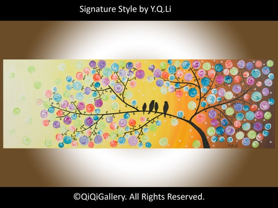 "Valentine's Day Abstract Landscape Handmade birds Painting Original Modern Heavy Texture Impasto Tree Wall Décor ""Sunday Morning"" QIQIGALLEY"