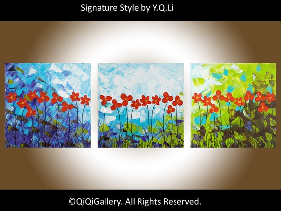 "36"" Original Modern Abstract Heavy Texture Impasto Palette Knife Painting Landscape Flower Wall Decor ""Red Delight"" by QIQIGALLERY"