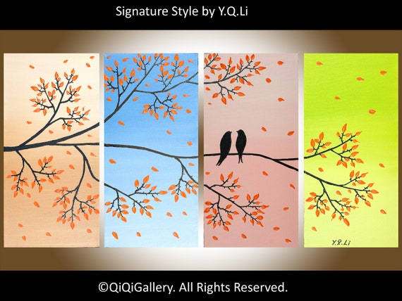 "Contemporary Landscape abstract birds  Painting Original Modern Palette Knife Tree Wall Decor ""Love Birds on Branches"" by QIQIGALLERY"