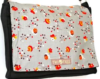 Grey Vintage FLOWERS MESSENGER Book iPad Laptop Diaper BAG