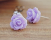 lavender purple parade rose flower earrings by yeahhello
