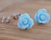 light blue parade rose flower earrings by yeahhello