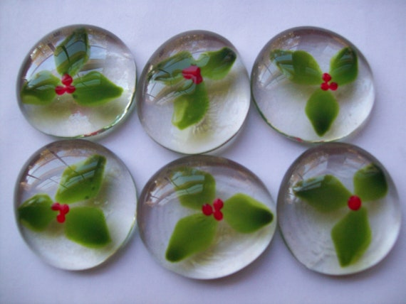 Hand painted large glass gems party favors christmas decorations Holly with berries