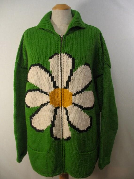 Vintage Flower Power Cardigan / 80s Green Sweater / Daisies