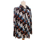 Vintage Shirt Feather Plume Design 70s Novelty Print Thin Nylon Pointy Collar size XL